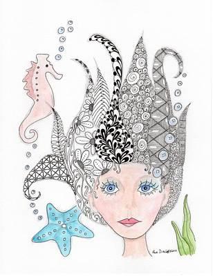 Paisley Drawing - Mermaiden by Paula Dickerhoff