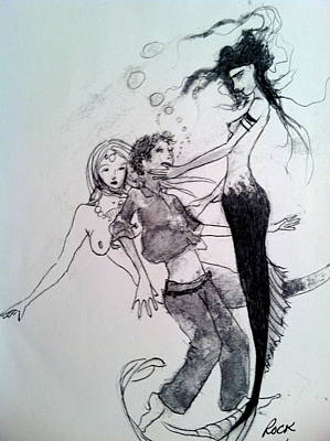 Mermaids Sailor Sketch Drawing - Mermaids by Jackie Rock