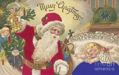 Santa Claus Painting - Merry Christmas by American School