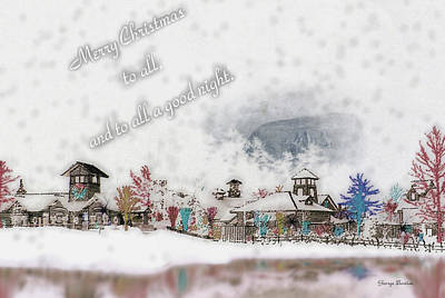 Merry Christmas - Stone Mountain Snowfall Art 4x6  Print by George Bostian