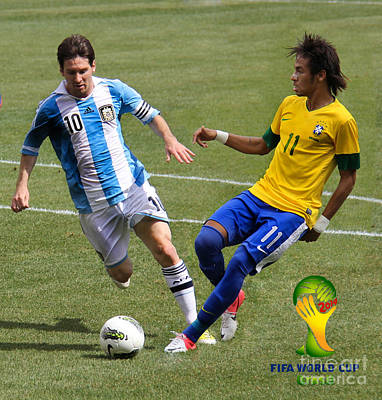 Messi And Neymar Clash Of The Titans World Cup 2014 Print by Lee Dos Santos