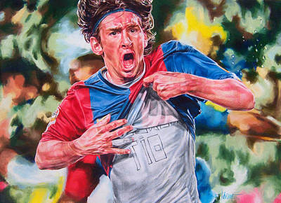 Soccer Drawing - Messi by Janine Hoffman