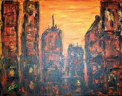 Sunset Painting - Metropolis Sunset  by Mary Sedici