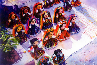 Muneca Painting - Mexican Dolls by Estela Robles