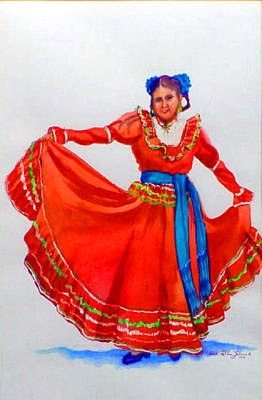 Decoraci Painting - Mexican Srta In Red by Estela Robles