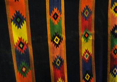 Mexican Throw Rug Colorful Print by Unique Consignment