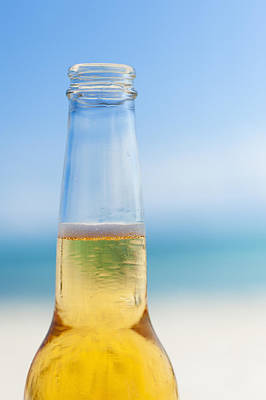 Mexico, Yucatan, Beer Bottle On Beach Print by Tetra Images