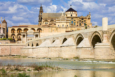Mezquita Cathedral And Roman Bridge In Cordoba Print by Artur Bogacki
