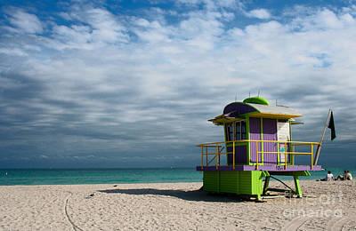 Miami 12th Street Beach  Print by Barbara McMahon