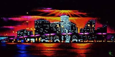 Sunsert Painting - Miami By Black Light by Thomas Kolendra