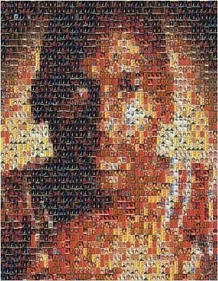 Michael Jordan Card Mosaic 1 Print by Paul Van Scott