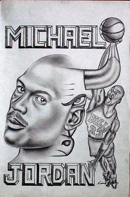 Tattoo Stencils Drawing - Michael Jordan Double Exposure by Rick Hill