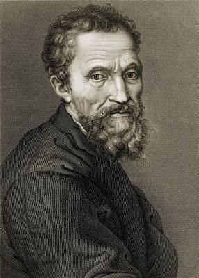 Self-portrait Photograph - Michelangelo Buonarroti 1475-1564 by Everett