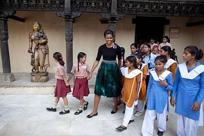Michelle Obama Photograph - Michelle Obama Accompanied By Children by Everett