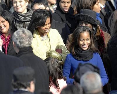 Michelle Obama Photograph - Michelle Obama And Daughters Malia by Everett