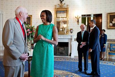 Michelle Obama Laughs With National Print by Everett