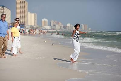 Michelle Obama Walks Barefoot Print by Everett