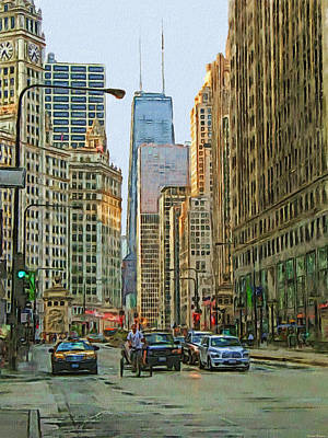 Architecture Digital Art - Michigan Avenue by Vladimir Rayzman