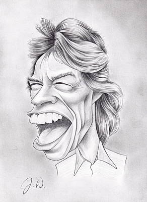 Rolling Stones Drawing - Mick Jagger by Jamie Warkentin