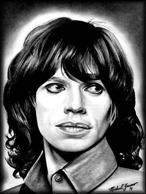 Mickjagger Drawing - Mick Jagger by Michael Yacono