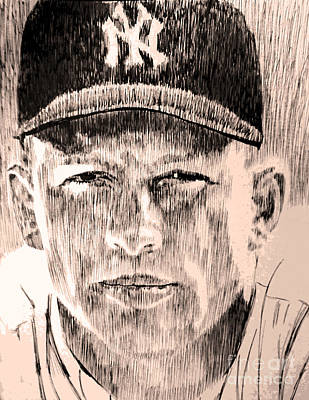 Mickey Mantle Drawing - Mickey Mantle by Robbi  Musser