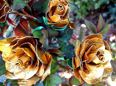 Midas Touch Duck Tape Roses Print by Laura  Grisham
