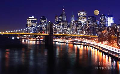 Midnight In The Shadow Of Brooklyn Bridge - Brooklyn Bridge Print by Lee Dos Santos
