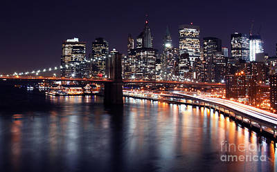 Nyc Digital Art - Midnight In The Shadow Of Brooklyn Bridge II- Brooklyn Bridge by Lee Dos Santos