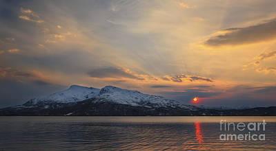 Sunset In Norway Photograph - Midnight Sun Over Tjeldsundet Strait by Arild Heitmann