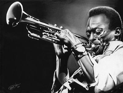 African-american Drawing - Miles Davis by Jeff Stroman