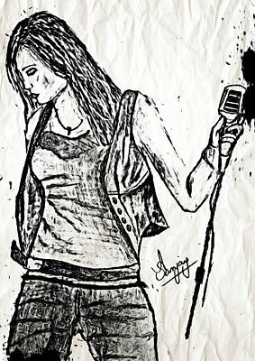 Oil Lamp Drawing - Miley Cyrus Says Let The Music Begin by Sanjay Avasarala
