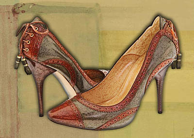 Stilettos Painting - Military Camouflage Stilettos With Tassels by Elaine Plesser