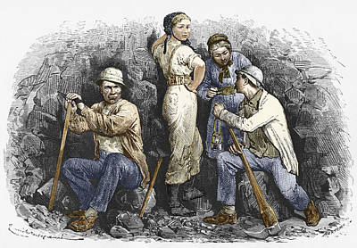 Working Conditions Photograph - Miners And Their Wives, 19th Century by Sheila Terry