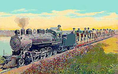 Venice Ca Painting - Mini Railroad In Venice California 1910 by Dwight Goss