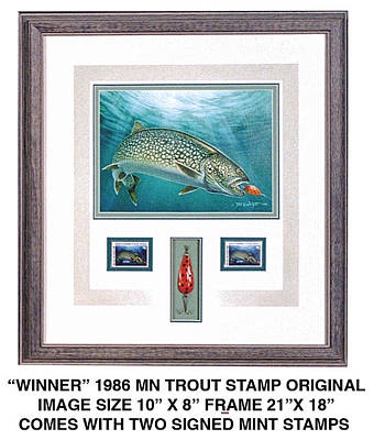 Minnesota Painting - Minnestao 1986 Trout Stamp Original by JQ Licensing