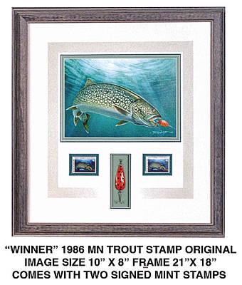Minnestao 1986 Trout Stamp Original Original by JQ Licensing
