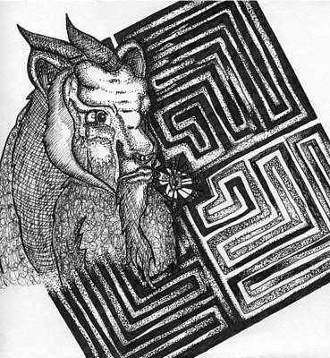 Minotaur Drawing - Minotaur by Sarah Jones