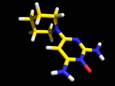 Minoxidil Molecule, Hair Growth Drug Print by Dr Tim Evans