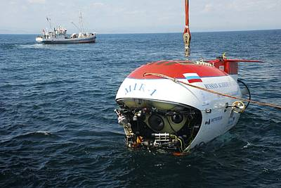 Mir-1 Submersible At Lake Baikal Print by Ria Novosti