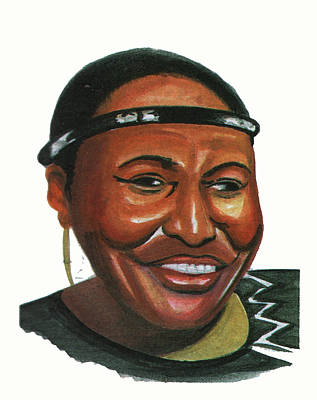 Mama Africa Drawing - Miriam Makeba by Emmanuel Baliyanga