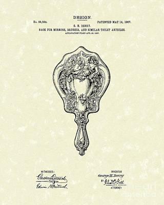 Mirror Back Design I I I 1907 Patent Art  Print by Prior Art Design