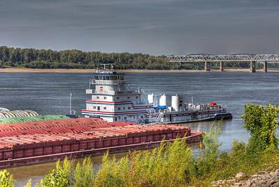Bridge Photograph - Mississippi River Tugboat-2 by Barry Jones