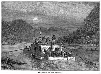 Missouri River: Flatboat Print by Granger
