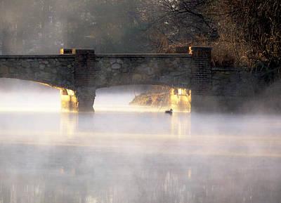 Misty Bridge Sunrise Print by Vicki Jauron