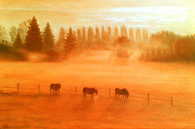 Horse Painting - Misty Morning by Ronald Haber