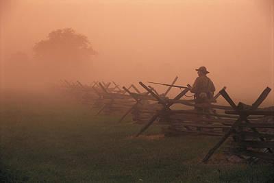 Historical Reenactments Photograph - Misty View Of The Civil War Battlefield by Richard Nowitz