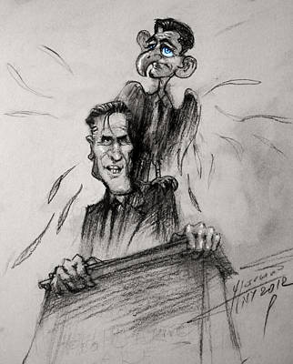 Mitt Romney And His Flying Mate Print by Ylli Haruni