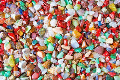 Semi-precious Photograph - Mixed Stones As Background by Tom Gowanlock