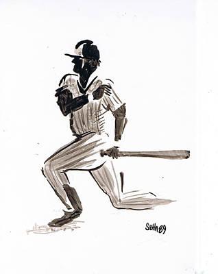 Major League Drawing - Mlb Base Hit by Seth Weaver