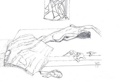Mmm...stretch... Sketch Print by Robert Meszaros